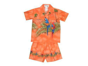 Boy's Set 2 / Orange Parrot Paradise Boy's Cabana Set