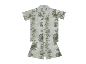 Boy's Set 2 / White Floral Lei Panel Boy's Cabana Set