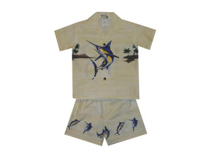 Boy's Set 2 / White Jumping Marlin Boy's Cabana Set
