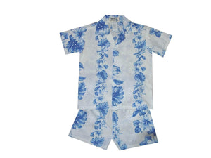 Boy's Set 2 / White w/ Navy Blue Floral Lei Panel Boy's Cabana Set