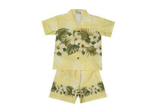 Boy's Set 2 / Yellow Hibiscus Row (Colored) Boy's Cabana Set