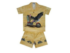 Boy's Set 2 / Yellow Patriotic Motorcycle Boy's Cabana Set