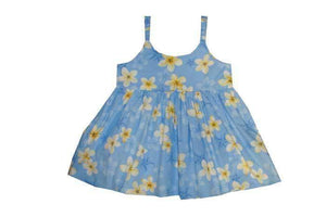 Girl's Bungee Dress 6M / Blue Plumeria Girl's Hawaiian Bungee Dress