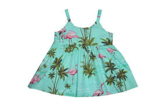 Girl's Bungee Dress 6M / Green Flamingo Fever Girl's Hawaiian Bungee Dress