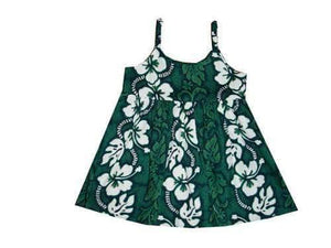 Girl's Bungee Dress 6M / Green Hibiscus Lei Girl's Hawaiian Bungee Dress