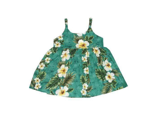 Girl's Bungee Dress 6M / Green Hibiscus Panel Girl's Hawaiian Bungee Dress
