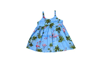 Girl's Bungee Dress 6M / Light Blue Flamingo Fever Girl's Hawaiian Bungee Dress
