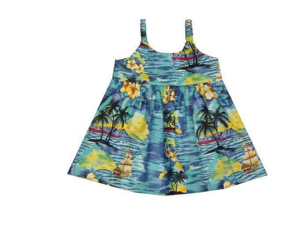 Girl's Bungee Dress 6M / Navy Blue Classic Discovery Girl's Hawaiian Bungee Dress