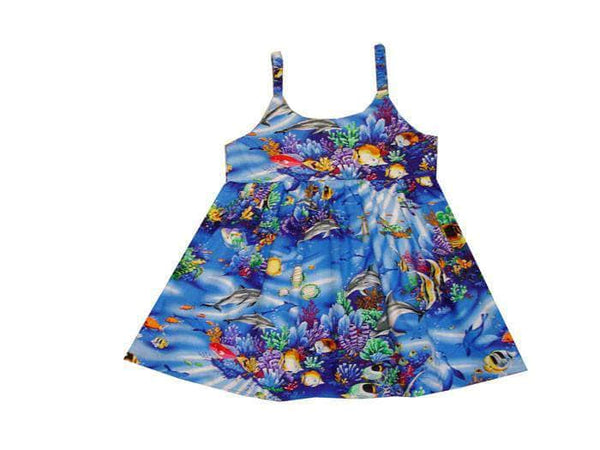 Girl's Bungee Dress 6M / Navy Blue Coral Reef Girl's Hawaiian Bungee Dress