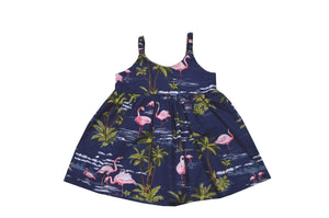 Girl's Bungee Dress 6M / Navy Blue Flamingo Fever Girl's Hawaiian Bungee Dress