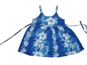 Girl's Bungee Dress 6M / Navy Blue Floral Lei Girl's Hawaiian Bungee Dress