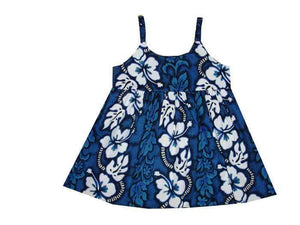 Girl's Bungee Dress 6M / Navy Blue Hibiscus Lei Girl's Hawaiian Bungee Dress