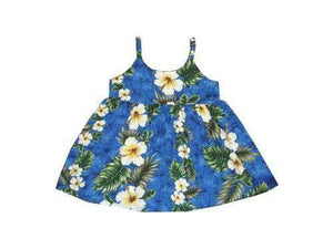 Girl's Bungee Dress 6M / Navy Blue Hibiscus Panel Girl's Hawaiian Bungee Dress
