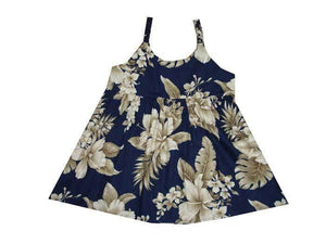 Girl's Bungee Dress 6M / Navy Blue Tropical Hibiscus Girl's Hawaiian Bungee Dress