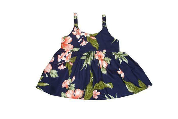 Girl's Bungee Dress 6M / Navy Blue w/ Coral Garden Hibiscus Girl's Hawaiian Bungee Dress