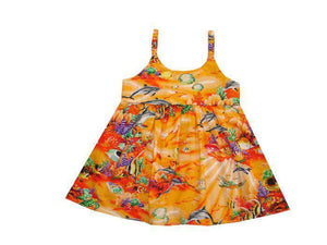 Girl's Bungee Dress 6M / Orange Coral Reef Girl's Hawaiian Bungee Dress