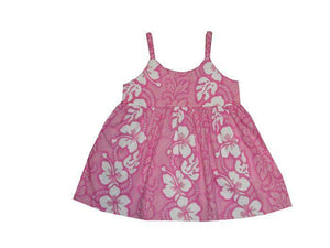 Girl's Bungee Dress 6M / Pink Hibiscus Lei Girl's Hawaiian Bungee Dress