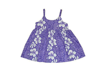 Girl's Bungee Dress 6M / Purple Hibiscus Lei Girl's Hawaiian Bungee Dress