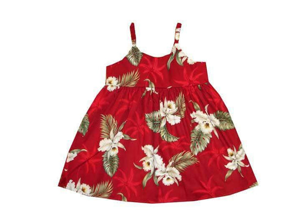 Girl's Bungee Dress 6M / Red Classic Orchid Girl's Hawaiian Bungee Dress