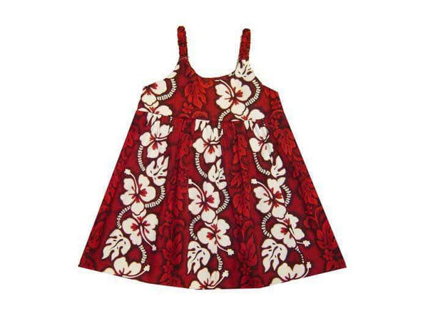 Girl's Bungee Dress 6M / Red Hibiscus Lei Girl's Hawaiian Bungee Dress