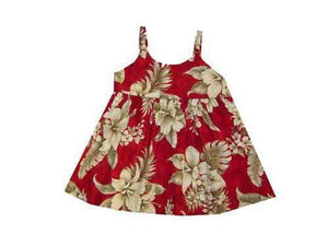 Girl's Bungee Dress 6M / Red Tropical Hibiscus Girl's Hawaiian Bungee Dress