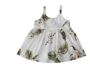 Girl's Bungee Dress 6M / White Classic Orchid Girl's Hawaiian Bungee Dress