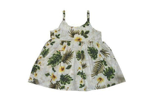 Girl's Bungee Dress 6M / White Hibiscus Panel Girl's Hawaiian Bungee Dress