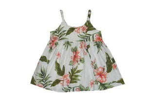 Girl's Bungee Dress 6M / White w/ Coral Garden Hibiscus Girl's Hawaiian Bungee Dress