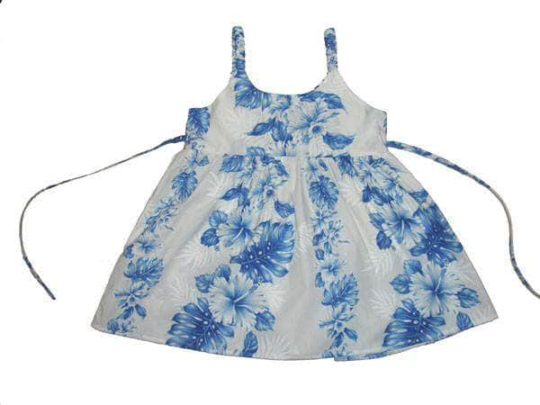 Girl's Bungee Dress 6M / White w/ Navy Blue Floral Lei Girl's Hawaiian Bungee Dress