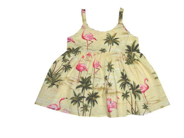 Girl's Bungee Dress 6M / Yellow Flamingo Fever Girl's Hawaiian Bungee Dress