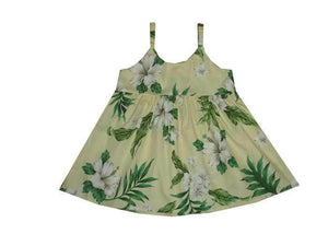 Girl's Bungee Dress 6M / Yellow Garden Hibiscus Girl's Hawaiian Bungee Dress