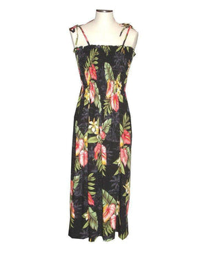 Tube Dress Black / Midi Anthurium Flowers Hawaiian Tube Dress