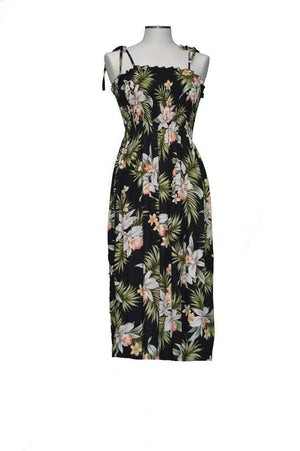 Tube Dress Black / Midi Blooming Orchid Hawaiian Tube Dress