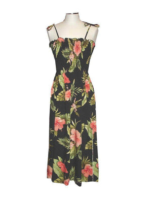 Tube Dress Black / Midi Wild Hibiscus Hawaiian Tube Dress