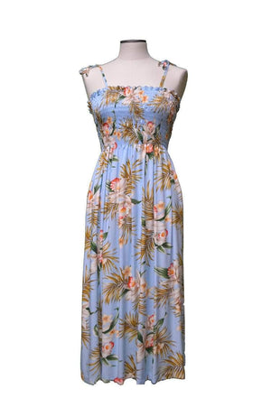 Tube Dress Blue / Midi Blooming Orchid Hawaiian Tube Dress