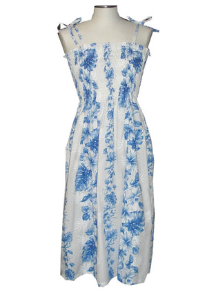 Ky's White with Navy Floral Lei Hawaiian Elastic Tube Dress.