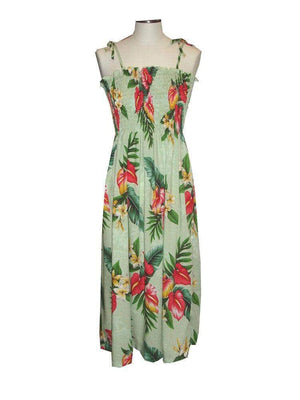 Tube Dress Green / Midi Anthurium Flowers Hawaiian Tube Dress