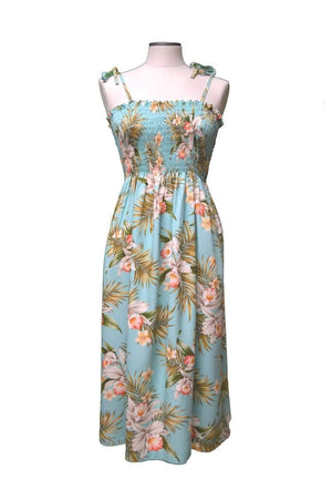 Tube Dress Green / Midi Blooming Orchid Hawaiian Tube Dress