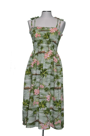 Mid-Length Tube Dress Green / Midi Diamond Head Orchid Hawaiian Tube Dress