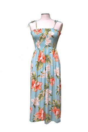 Mid-Length Tube Dress Green / Midi Majestic Hibiscus Hawaiian Tube Dress