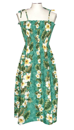 Ky's Green Hibiscus Panel Hawaiian Elastic Tube Dress.