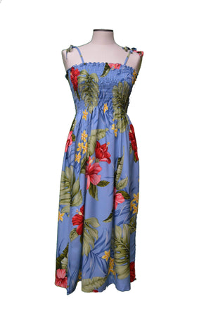 Tube Dress Midi / Navy Blue Classic Hibiscus Hawaiian Tube Dress
