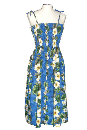 Ky's Navy Blue Hibiscus Panel Hawaiian Elastic Tube Dress.