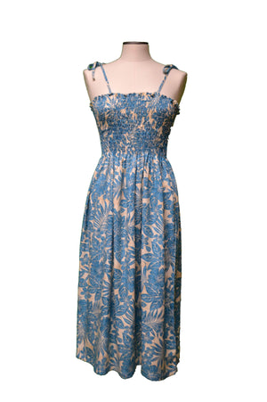 Tube Dress Midi / Navy Blue Hidden Hibiscus Garden Hawaiian Tube Dress