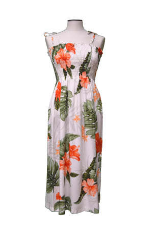 Tube Dress Midi / White Classic Hibiscus Hawaiian Tube Dress