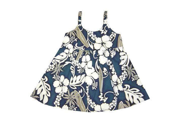Girl's Bungee Dress Navy Blue / 6M Hibiscus and Surfboard Girl's Hawaiian Bungee Dress