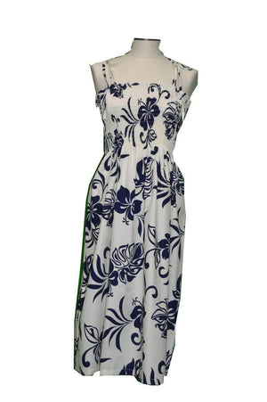 Tube Dress Navy BLue / Midi Aloha Spirit Hawaiian Tube Dress
