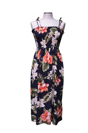 Mid-Length Tube Dress Navy Blue / Midi Majestic Hibiscus Hawaiian Tube Dress