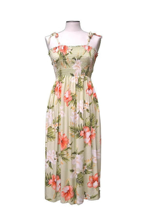 Mid-Length Tube Dress Olive / Midi Majestic Hibiscus Hawaiian Tube Dress