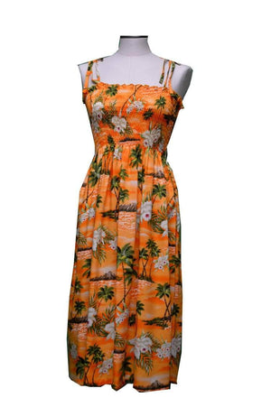 Mid-Length Tube Dress Orange / Midi Diamond Head Orchid Hawaiian Tube Dress
